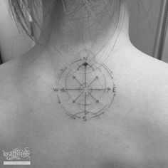 Compass Tattoos line by tatuyiseuteu River.  compass tattoo.  line.  delicate.  Woman.  Per minute.  Tattoo