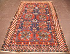 5 x 8 ANTIQUE CAUCASIAN KAZAK Tribal Hand Knotted Wool NAVY IVORY Oriental Rug #CaucasianKazakTribalGeometric
