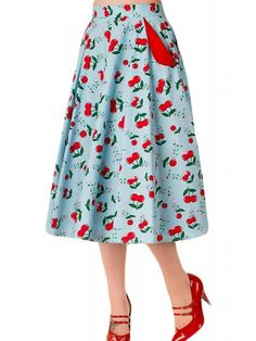 Full Hem Skirt, Midi Length, Side Seam Pockets with Contrast Colour Detail, Invisible Centre Back Zip, Highwaisted Fitted Waistband, 97% Cotton, 3% Elastane