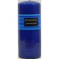 Temptations Handcrafted Candle Dark Blue 16cm