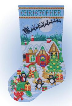 Penguin Party Christmas Stocking - Counted Cross Stitch Kit