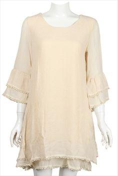 Tunic Beige Dress 1X & 2X True Plus Size 3Q sleeve