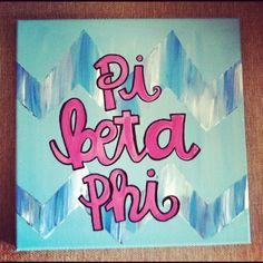 Pi Phi chevron canvas craft #piphi #pibetaphi