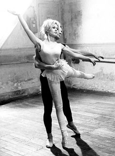 Brigitte Bardot, 1959. Bardot studied ballet from childhood and has never lost her interest in it.