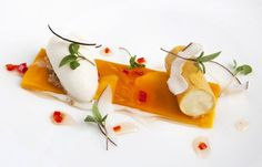 Passion fruit parfait with mango, lemongrass and lime