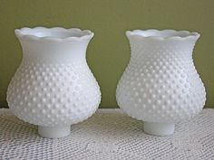 Milk Glass Lamp Shade with Hobnail Pattern and Scalloped  Rim. Set of Two Lamp or Chandelier Shades by AnythingDiscovered on Etsy
