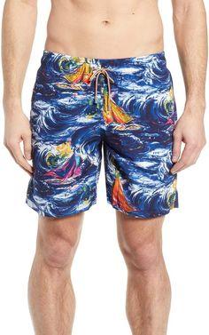 Large Feature Rasta Grunge Men Quick Dry Stripe Swim Trunks Mesh Lining Beach Shorts with Adjustable Pull Cord