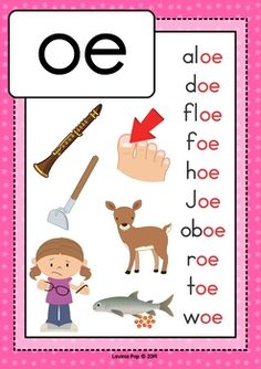 Digraph / Vowel Team OE: Phonics Word Work {Multiple Phonograms}. Poster / anchor chart. Phonics Sounds Chart, Phonics Chart, Phonics Flashcards, Flashcards For Kids, Alphabet Phonics, Phonics Words, Phonics Worksheets, Preschool Charts, Preschool Learning Activities