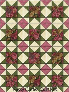 Northcott Rose Cottage Floral Roses Shabby Chic Flowers Fabric Easy Pre-Cut Sawtooth Star Quilt Blocks Top Squares Kit