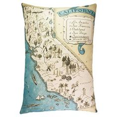 """Showcasing a California motif in blue and white, this handmade cotton denim pillow adds a pop of coastal style to your decor.  Product: PillowConstruction Material: Cotton denim coverColor: Blue, beige and whiteFeatures:  Made in the USAHandmade by TheWatsonShopZipper closure Insert includedDimensions: 22"""" x 15""""Cleaning and Care: Dry cleaning recommended"""