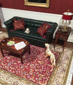 Dollhouse Miniature Artisan Signed Gail Steffey Chesterfield Green Sofa | eBay