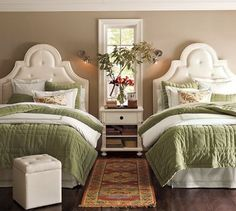 Love the idea of two twin beds for a guest room...look at those headboards! And the window in between! And the rug! Ah!