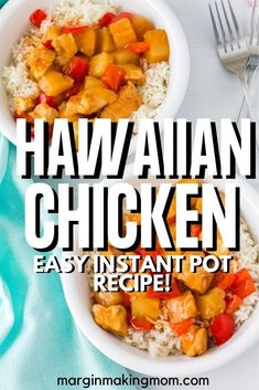 It doesn't get much easier than this recipe for Instant Pot Hawaiian chicken and rice! A sweet and tangy sauce, pineapple, peppers, and tender chicken are served over fluffy white rice--and it all cooks at the same time!
