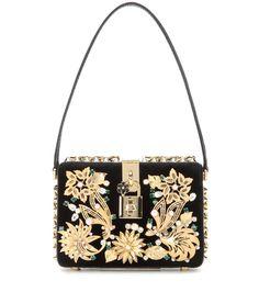 Verzierte Tasche Dolce Box aus Samt und Kaimanleder By Dolce & Gabbana