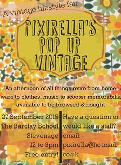 PixiRella: PixiRella's Pop Up Vintage   A Retro Lifestyle Event