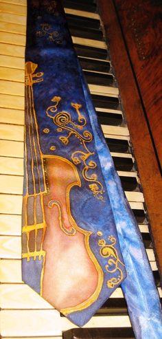 On stock Silk necktie for men Violin sounds hand by ingosfeltshop