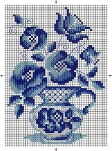 Blue Flowers in a Blue Vase Cross Stitch Cards, Cross Stitch Borders, Counted Cross Stitch Patterns, Cross Stitch Designs, Cross Stitching, Cross Stitch Embroidery, Embroidery Patterns, Loom Patterns, Butterfly Cross Stitch