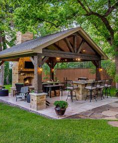 Rustic Outdoor Fireplaces, Outdoor Fireplace Designs, Outdoor Patio Designs, Pergola Designs, Outdoor Decor, Patio Ideas, Landscaping Ideas, Pergola Kits, Backyard Ideas