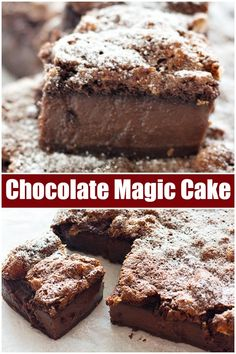 This Chocolate Magic Cake has three layers with a custard-like layer in the middle, all made from one batter. It satisfies any chocolate cravings! Magic Chocolate Cake, Chocolate Pudding Cake, Chocolate Desserts, Chocolate Magic Custard Cake Recipe, Chocolate Lasagna, Easy Desserts, Delicious Desserts, Dessert Recipes, Mini Desserts