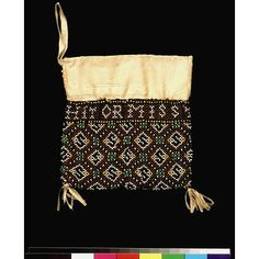 Purse, English, 1628; Victoria & Albert Museum No. T.250-1960; Back view; brown glass beads on a ground of netted silk, with a diamond pattern in blue and white beads with clusters of green and blue beads at the intersections. Lined with leather & buff silk. Two tassels of buff silk ribbon at the bottom.