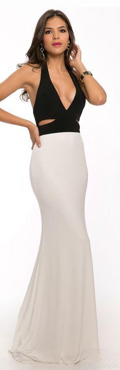 Jovani 21863 Black & White 2015 Long Sleek Evening Dress
