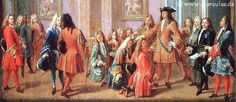 Louis XIV attended by courtiers at his morning levee Louis Xiv, St Louis, Versailles, Historical Art, Historical Costume, Dresden, Renaissance Clothing, Italian Painters, European History