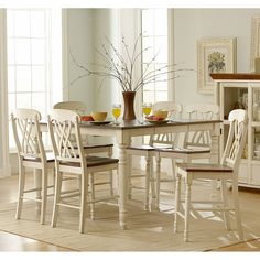 Have to have it. Ohana 7 Piece Square Counter Height Set - White & Cherry $1499.99