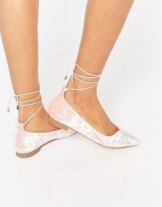 Pale Pink Velvet Lace up Flats