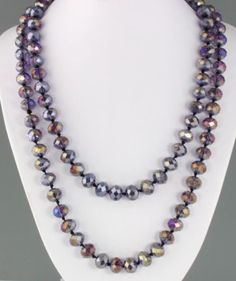 #Vintage #1970s Long #Purple #AuroraBorealis #CrystalGlass Bead #Necklace ➜ http://ebay.to/1vo5WFI