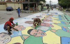#Worldcup -Streets-Pintura ilustra os jogadores da seleção brasileira