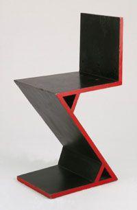 """Zigzag"" Chair, Gerrit Thomas Rietveld, Designed made c. Made in Utrecht, Netherlands, Europe Mod Furniture, Furniture Design, Bauhaus, Mondrian, David Wood, Hall Design, Philadelphia Museum Of Art, Diy Wood Projects, Vintage Industrial"