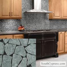 opulence tile backsplash with granite | image black and white