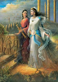 Artemisia Halicarnassus (right) the Persian Grand Admiral with her Warrior Woman Captain (left) Browsing the gardens of Persepolis and discussing naval battle plans Persian Warrior, Iranian Wedding, Persian Princess, Achaemenid, Ancient Persian, Persian Culture, Warrior Queen, Historical Women, Iranian Art
