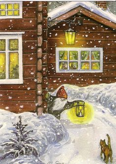 """Come On In, There's Milk By A Warm Fire For Everyone At Christmas "" ~ Artist:  Carina Ståhlberg"