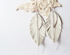 Feather Earrings - Leather Earrings in Snow White with Copper Chain in Silver Color. $10.00, via Etsy.