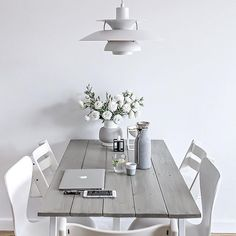 T h r o w b a c k |  Our dining space during the transition period with my old DIY desk serving as a table, white chairs and always beautiful PH5 lamp. Yes or no?