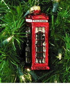 "London Phone Booth Christmas Ornaments - Glass  Using a centuries old process developed in Eastern Europe, the famous London Phone Booth is magnificently reproduced as a glass Christmas ornament.     Each London Christmas ornament is constructed of molten glass hand-blown into a mold. Once the glass is shaped, it is then silvered.  Measures 6"" Tall  http://www.nycwebstore.com/detail.aspx?Product_ID=LC-LTB"