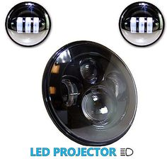 "92896 motorcycle-parts 7"" LED Head Light + 4 inch Auxiliary Spot Lamps Black Fits Harley Davidson   BUY IT NOW ONLY  $189.95 7"" LED Head Light + 4 inch Auxiliary Spot Lamps Black Fits Harley Davidson ... Led Projector, Head Light, Black Lamps, Motorcycle Parts, Harley Davidson, Stuff To Buy"