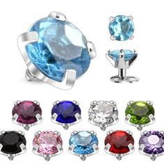 Round-Prong-Set-Gem-Dermal-Top-316L-Surgical-Steel- Internally-Threaded #Dermaltops #freeshipping #jewelry #fashion #dermal #ebay