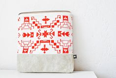 Navajo Pattern Printed Leather-Suede Pouch native aztec red