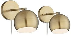 Antique Brass Sphere Shade Pin-Up LED Wall Lamps Set of 2...