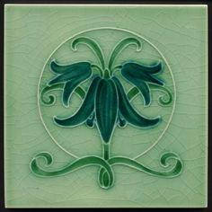 TH2952 Rare & Perfect Pilkington Antique Art Nouveau Majolica Tile Rd.1912