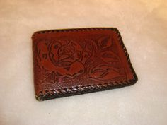 Vintage Brown Leather Bifold Hand Tooled Roses & Braid Trim Wallet #Unbranded #Bifold