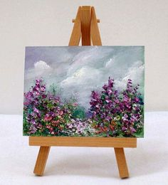 Garden with purple flowers 3x4 original oil by valdasfineart