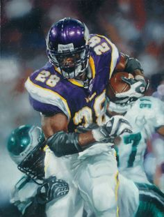 "Adrian Petersen, Vikings by Zachary Proctor, 2010. Oil on canvas 18""x24."""