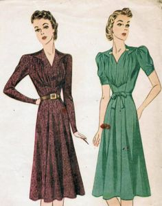 Vintage 1939 Simplicity 3180 Sewing Pattern Misses' Dress Size 16 Bust 34