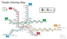 Tianjin Subway Map shows Tianjin's four subway lines.