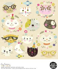 Puppy Party, Cat Party, Kids Graphic Design, Kitty Drawing, Animal Magic, Watercolor Pattern, Surface Pattern Design, Repeating Patterns, Pattern Wallpaper