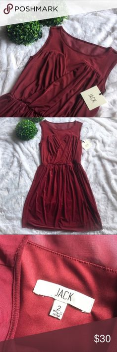 """NWT Jack By BB Dakota Maroon Mini Dress New with tags so never been worn super cute maroon dress. No flaws at all. 30"""" chest, 33"""" long, and a 24"""" stretchable waist. Gorgeous maroon mesh top portioning. I'm only looking to sell at this time so sorry but no trades. My listing price is firm. Jack by BB Dakota Dresses Mini"""
