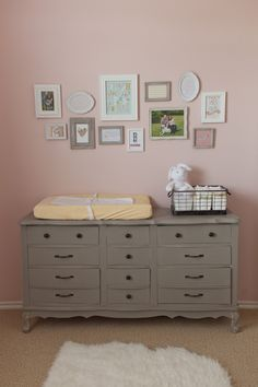 Another vintage painted dresser. Like the gray on the pink wall.